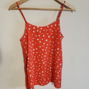 Red Tank Top with Blue and White Flowers